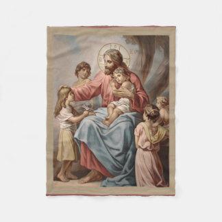 Jésus avec les filles de garçons d'enfants couverture polaire