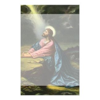 Jésus-Christ vintage priant dans Gethsemane Papier À Lettre Personnalisable