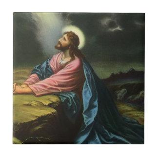 Jésus-Christ vintage priant dans Gethsemane Petit Carreau Carré