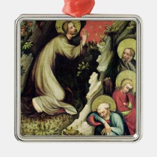 Jésus dans le jardin de Gethsemane Ornement Carré Argenté