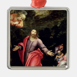 Jésus dans le jardin des olives, c.1590-95 ornement carré argenté