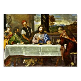 Jésus dinant à la maison d'Emmaus Modèle De Carte De Visite