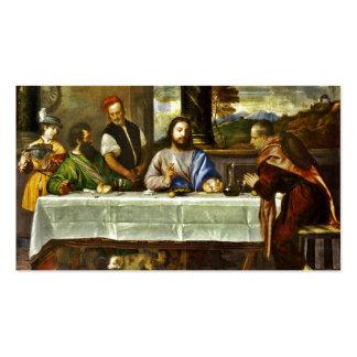Jésus dinant à la maison d'Emmaus Carte De Visite Standard
