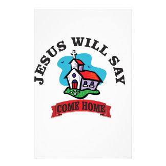 Jésus dira venu à la maison papier à lettre customisable