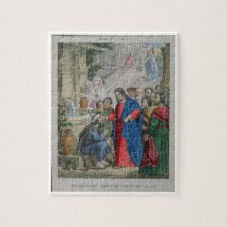 Jésus donne la vue à un aveugle né, d'une bible puzzle