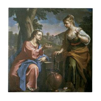 Jésus enseigne la femme samaritaine petit carreau carré