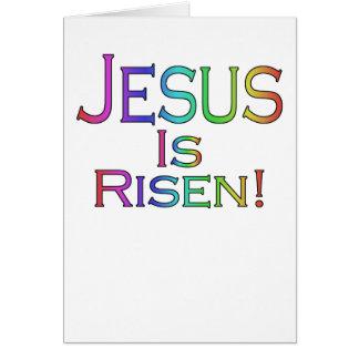 Jésus est levé ! (arc-en-ciel) carte de Pâques