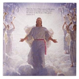 Jésus et ses tuiles des anges 1 grand carreau carré