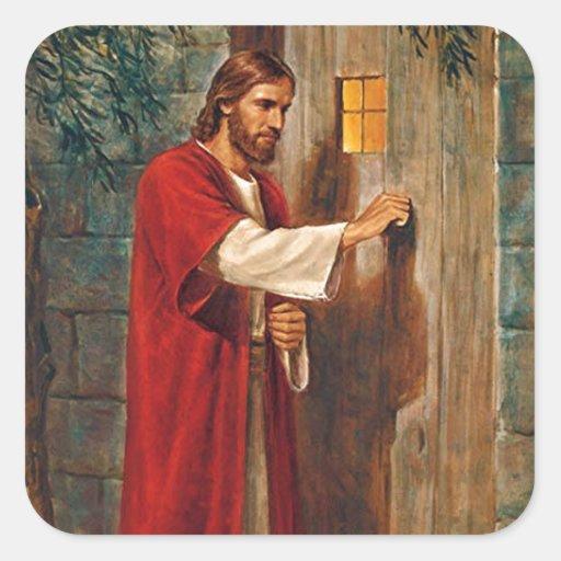 Jésus frappe sur la porte autocollant carré