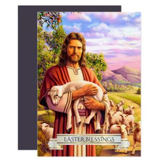 Jésus le bon berger peignant des cartes de Pâques Carton D'invitation 12,7 Cm X 17,78 Cm