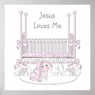 Jésus m'aime le décor 25x25 de mur de crèche de bé posters