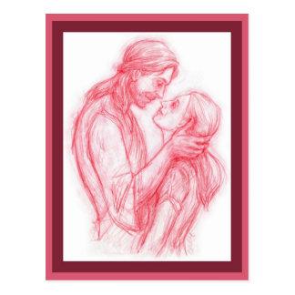 """""""Jésus me regardant"""" carte postale avec l'écriture"""