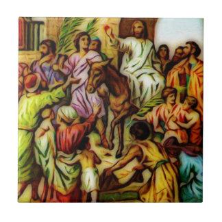 Jésus monte l'âne dans Jérusalem Petit Carreau Carré