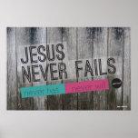 Jésus n'échoue jamais l'affiche chrétienne