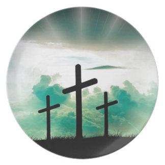 Jésus s'est levé (trois croix) assiette