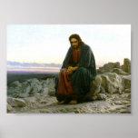Jésus sur une roche dans le désert posters