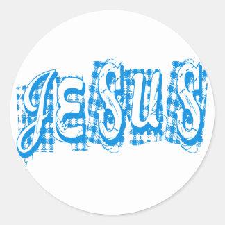 Jesus Tissus Bleu. Sticker Rond
