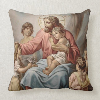Jésus vintage avec des filles de garçons d'enfants oreiller