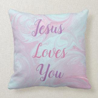 Jésus vous aime le coussin décoratif de marbre