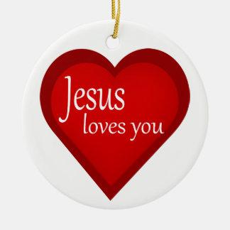 Jésus vous aime ornement d'Affirmative de coeur