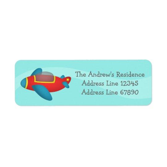 Jet coloré mignon d'avion pour des enfants étiquette d'adresse retour