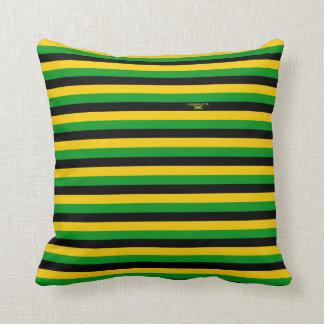Jet de rayures de couleurs de la Jamaïque et Coussins Carrés