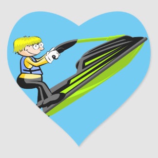 Jet ski fan sticker cœur