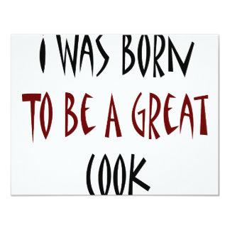 J'étais né pour être un grand cuisinier carton d'invitation 10,79 cm x 13,97 cm