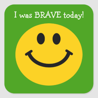 J'étais visage souriant de jaune courageux autocollants carrés
