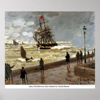 Jetée du Havre en mauvais temps par Claude Monet Poster