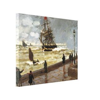 Jetée du Havre en mauvais temps par Claude Monet Toiles Tendues Sur Châssis