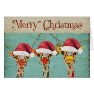 Jeter un coup d'oeil la carte de Noël de girafes