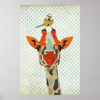 Jeter un coup d'oeil la girafe et la petite poster