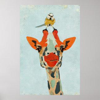 Jeter un coup d'oeil la girafe et la petite posters