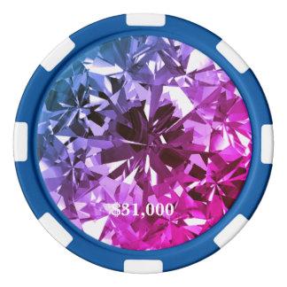 Jeton de poker bleu rose de gemme de filtre de