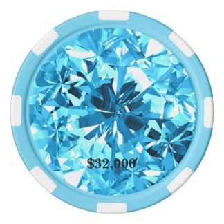 Jeton de poker bleu vert de gemme de bleus layette