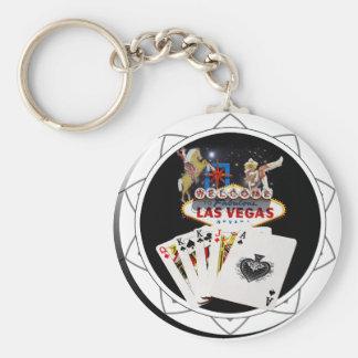 Jeton de poker de noir de signe bienvenu porte-clé rond