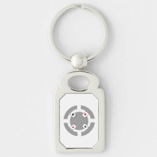Jeton de poker - gris porte-clé rectangulaire argenté