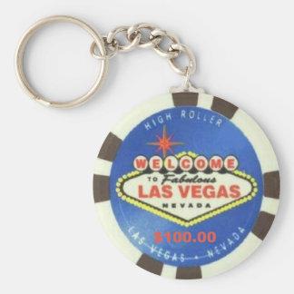 Jeton de poker Las Vegas bleu Keychain des 100 do