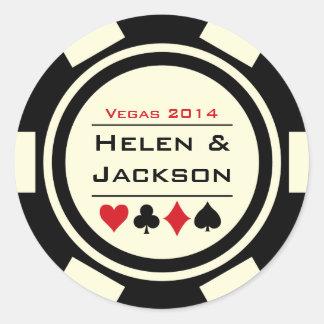 Jeton de poker noir et blanc adhésif rond