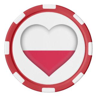 Jeton de poker polonais de coeur