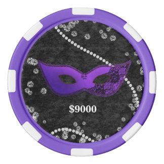 Jeton de poker violet de gemmes d'indigo de masque
