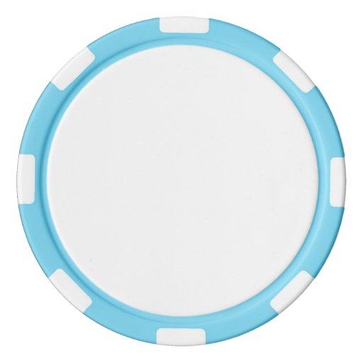 Jetons de poker en argile, Bleu ciel Bord à rayures