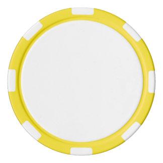 Jetons de poker avec le bord rayé jaune