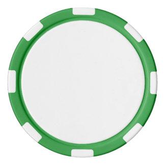 Jetons de poker avec le bord rayé vert
