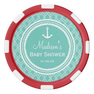 Jetons De Poker Baby shower nautique d'ancre de turquoise d'Aqua