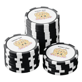 Jetons de poker chanceux d'argile de chat (Maneki