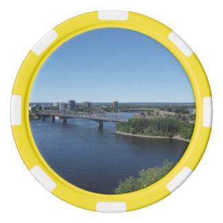 Jetons de poker de pont de rivière de ville de