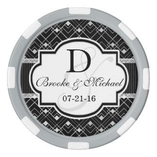 Jetons De Poker Épouser noir et argenté vintage d'art déco