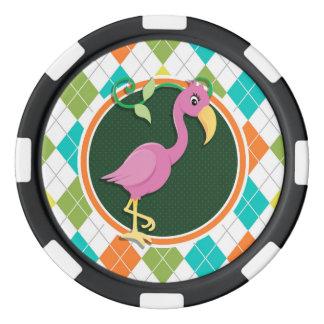 Jetons De Poker Flamant rose sur le motif à motifs de losanges